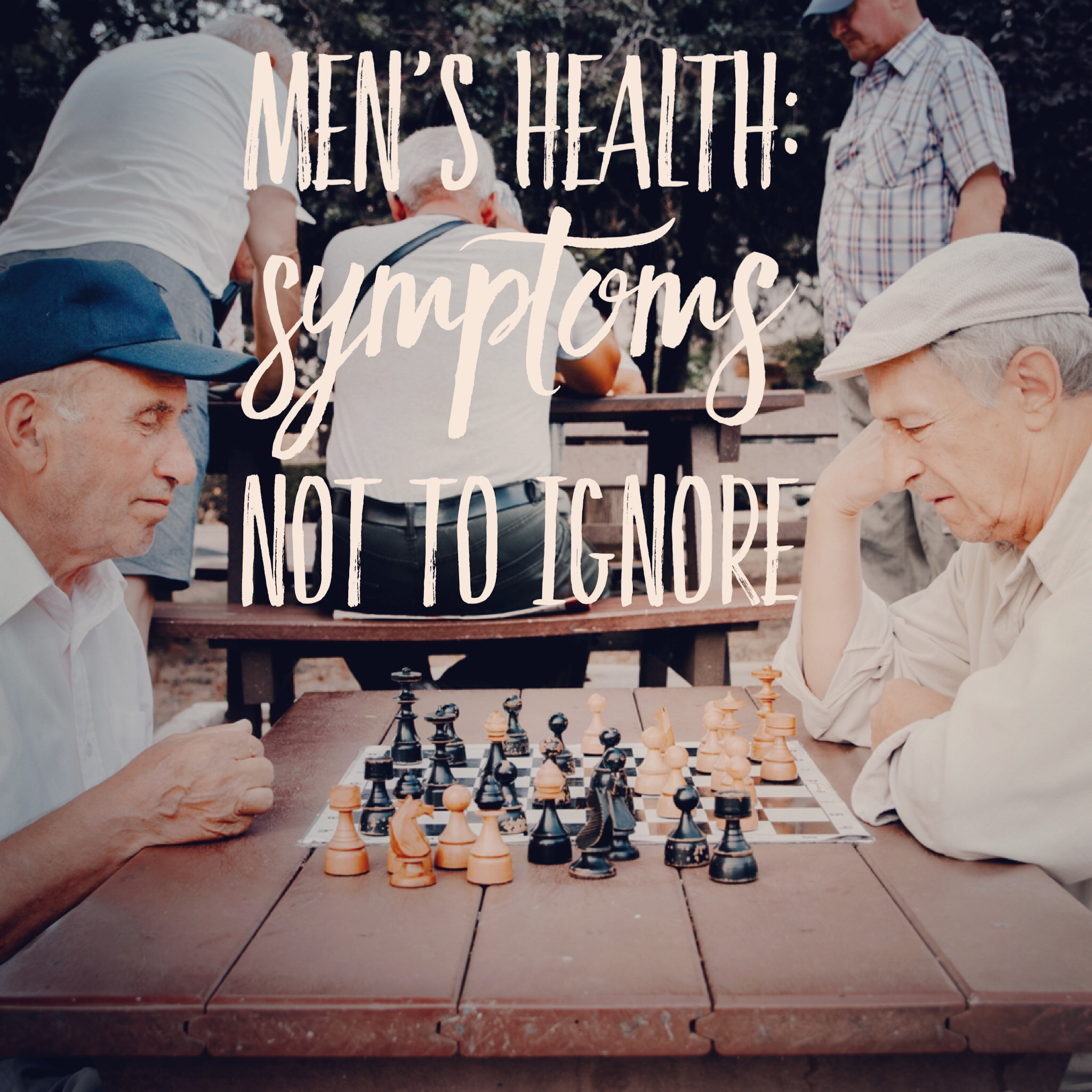 Middle aged men at outdoor table playing chess